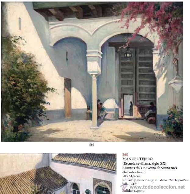 Arte: MANUEL TEJERO ( Escuela Sevillana del siglo XX ) - Vista de la Alhambra - Granada 1945 - Foto 7 - 32505156