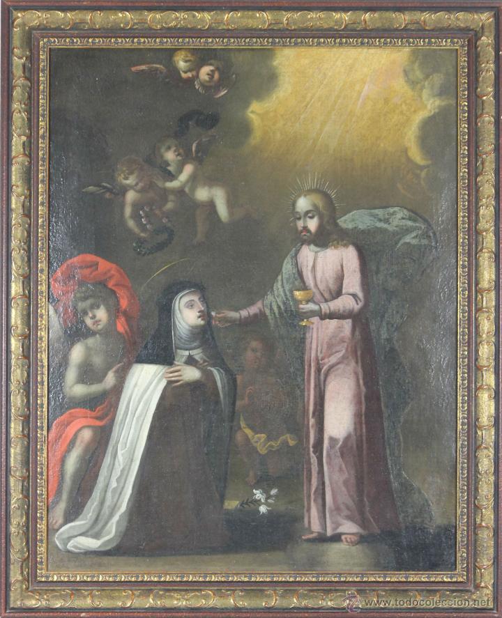 F3-035. COMUNION. SANTA MARIA MAGDALENA DE PAZZI. ÓLEO SOBRE LIENZO. SIGLO XVII. (Arte - Pintura - Pintura al Óleo Antigua siglo XVII)