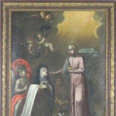 Arte: F3-035. COMUNION. SANTA MARIA MAGDALENA DE PAZZI. ÓLEO SOBRE LIENZO. SIGLO XVII.. Lote 54647073