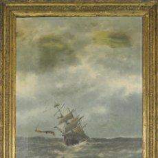 Arte: E4-047. MARINA. ÓLEO SOBRE LIENZO. FIRMA ILEGIBLE. 1892.. Lote 54653612