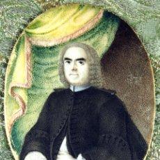 Arte: RETRATO MINIATURA DE BONAVENTURA SALAS.ÓLEO SOBRE HUESO. ROMA. ITALIA. 1739.. Lote 51596726