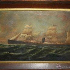 Arte: D3-044. BARCO LEÓN XIII. CHARLES J. WALDRON (1836-1891). ÓLEO / LIENZO. 1884. Lote 51733863