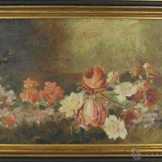 Arte: E4-036. BODEGON DE FLORES. ÓLEO SOBRE LIENZO. FIRMA ILEGIBLE ( ROVIRA? ). SIGLO XIX.. Lote 51243073