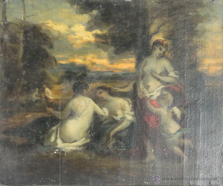 N1-020. ESCENA MITOLOGICA. BOCETO. OLEO SOBRE MADERA. SIGLO XVIII-XIX. (Arte - Pintura - Pintura al Óleo Antigua siglo XVIII)