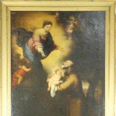 Arte: D3-026. APARICIÓN DE LA VIRGEN A SAN ANTONIO. O/L. FIRMADO CONTRERAS. 1878. Lote 50051153