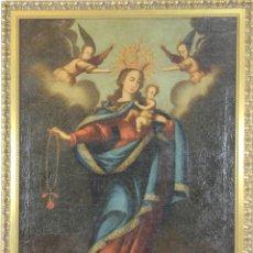 Arte: F3-024. VIRGEN CON NIÑO. OLEO SOBRE LIENZO. ESCUELA COLONIAL. SIGLO XVII-XVIII.. Lote 54500592