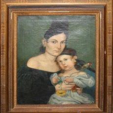 Arte: E4-001- DAMA CON NIÑA. FIRMADO G. PLANELLA. OLEO/LIENZO. AÑO: 1833. Lote 47276635