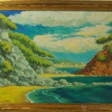 Arte: C4-033 - PAISAJE DE LA COSTA. ÓLEO SOBRE TELA. FIRMADO FITER. ESPAÑA. XX.. Lote 47730588