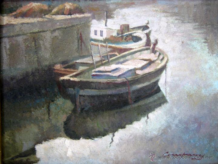 Arte: Antigua pintura al oleo firmada - marina catalana - barcas amarradas - Foto 3 - 54817659