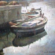 Arte: INTERESANTE PINTURA AL OLEO FIRMADA - MARINA BARCAS EN PUERTO - SIGLO XIX . PP XX - -. Lote 54817659