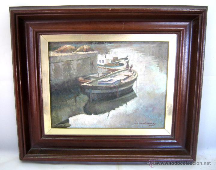 ANTIGUA PINTURA AL OLEO FIRMADA - MARINA CATALANA - BARCAS AMARRADAS (Arte - Pintura - Pintura al Óleo Moderna sin fecha definida)
