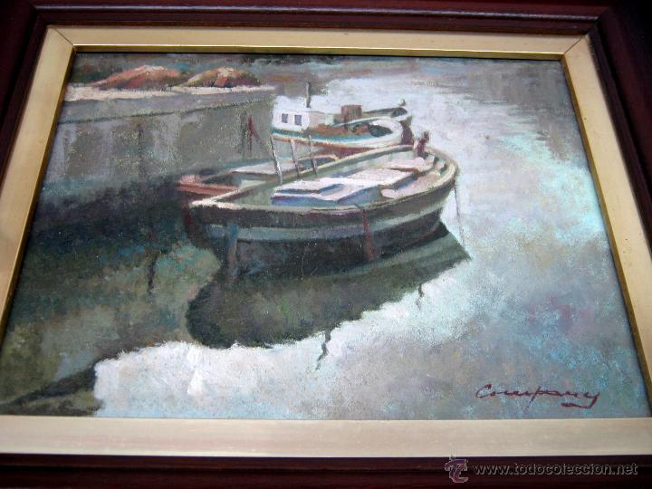 Arte: Antigua pintura al oleo firmada - marina catalana - barcas amarradas - Foto 2 - 54817659
