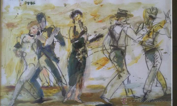 TANGO PASION, OLEO ACRILICO SOBRE PAPEL, AGUILAR MORÈ, 41X31CM SIN ENMARCAR (Arte - Pintura - Pintura al Óleo Contemporánea )