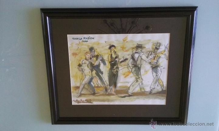 Arte: TANGO PASION, OLEO ACRILICO SOBRE PAPEL, AGUILAR MORÈ, 41X31CM SIN ENMARCAR - Foto 5 - 54844001