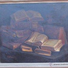 Arte: PRECIOSO ÓLEO DE FRANCISCO BARRACHINA. BODEGÓN DE LIBROS.. Lote 54879395