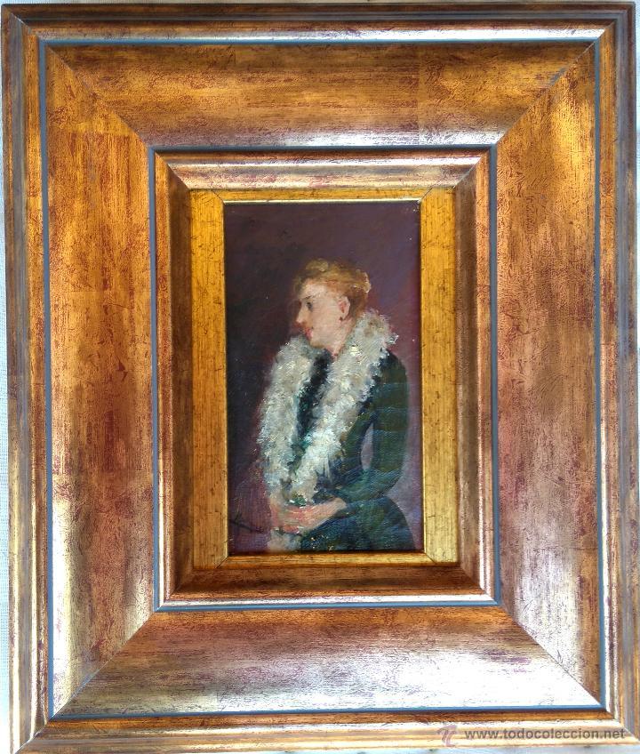 PINTURA ESPAÑOLA,OLEO SOBRE TELA,DAMA ALTA SOCIEDAD CON ABRIGO DE PIELES ,SIGLO XIX,OBRA DE ARTE (Arte - Pintura - Pintura al Óleo Moderna siglo XIX)