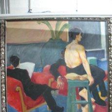Arte: PINTURA EN TELA SEÑORA EN SALÓN VAMVAS 88 EN MARCO DE MADERA. Lote 55026538