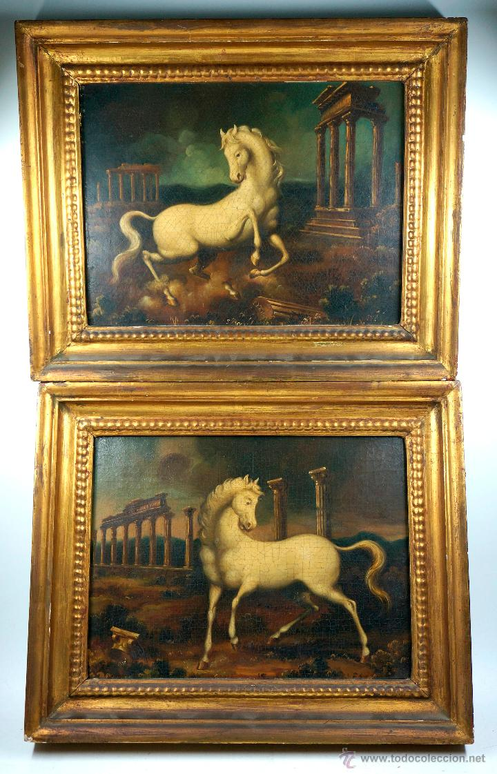 caballos en ruinas clásicas,pareja de óleos sob - Comprar Pintura al ...