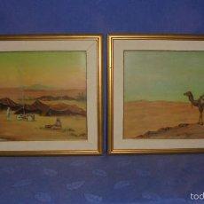 Arte: PAREJA DE CUADROS ORIENTALISTAS, , OLEO SOBRE TABLEX. HACIA 1900. MED. UNO 50X40 CM.. Lote 55141082