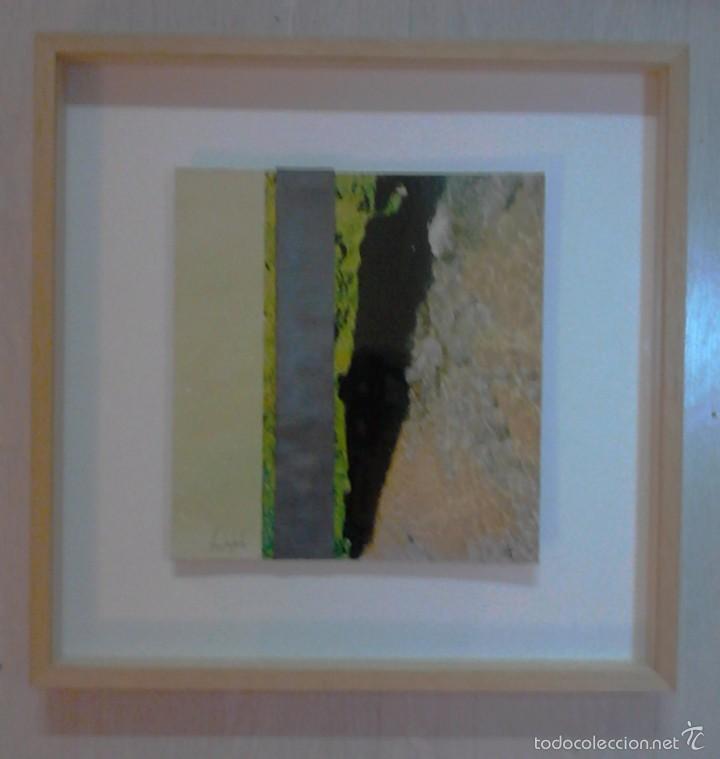 PINTURA SANZ DE LA FUENTE. BURGOS COLLAGE DE PINTURA, FOTOGRAFÍA Y PLOMO. 24 X 25 CM. (Arte - Pintura - Pintura al Óleo Contemporánea )