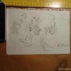 Arte: APUNTE ORIGINAL DIBUJO DEL PINTOR CONSTUMBRISTA ANDRÉS MEJIDES PIZARRO LEER. Lote 55224034
