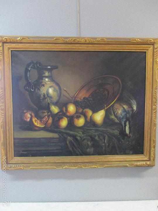 Arte: Josep Truco Prat - Barcelona (1923) - Bodegón - óleo sobre lienzo - con marco dorado - años 50 - Foto 2 - 55334815
