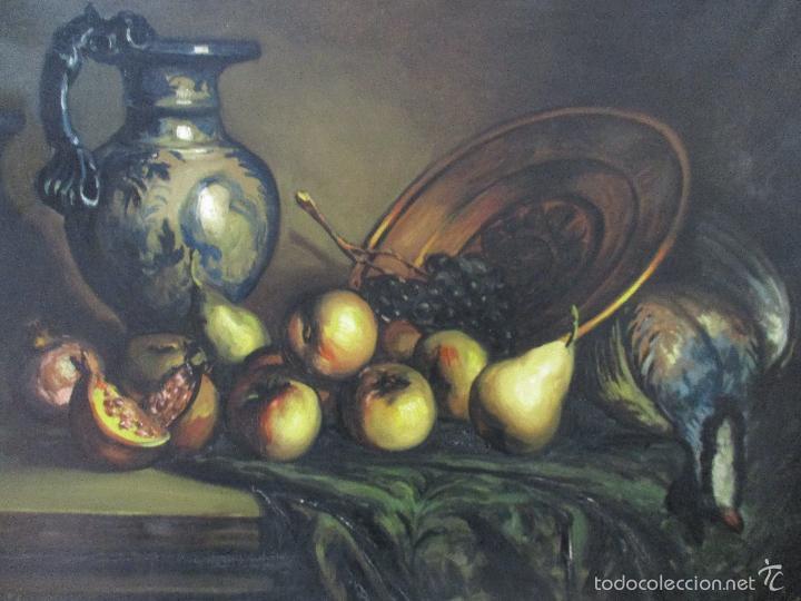 Arte: Josep Truco Prat - Barcelona (1923) - Bodegón - óleo sobre lienzo - con marco dorado - años 50 - Foto 4 - 55334815