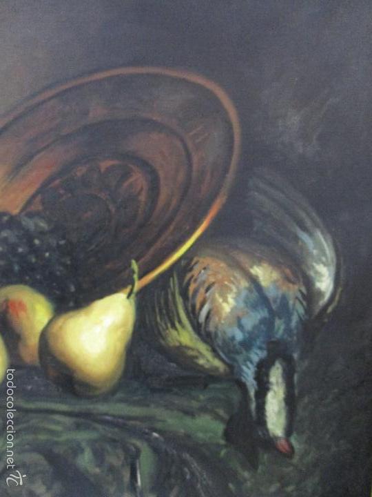 Arte: Josep Truco Prat - Barcelona (1923) - Bodegón - óleo sobre lienzo - con marco dorado - años 50 - Foto 5 - 55334815