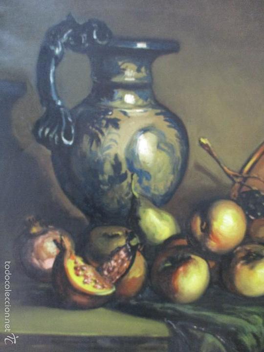 Arte: Josep Truco Prat - Barcelona (1923) - Bodegón - óleo sobre lienzo - con marco dorado - años 50 - Foto 6 - 55334815
