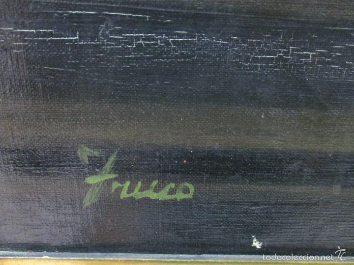 Arte: Josep Truco Prat - Barcelona (1923) - Bodegón - óleo sobre lienzo - con marco dorado - años 50 - Foto 7 - 55334815