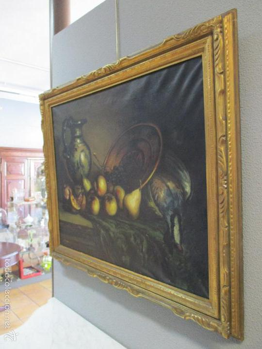Arte: Josep Truco Prat - Barcelona (1923) - Bodegón - óleo sobre lienzo - con marco dorado - años 50 - Foto 9 - 55334815