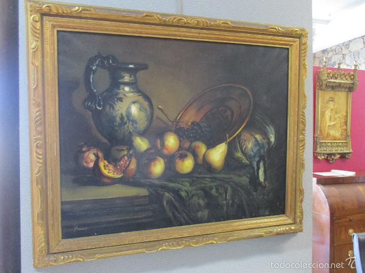 Arte: Josep Truco Prat - Barcelona (1923) - Bodegón - óleo sobre lienzo - con marco dorado - años 50 - Foto 10 - 55334815