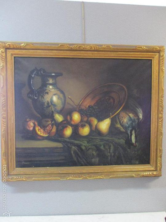 Arte: Josep Truco Prat - Barcelona (1923) - Bodegón - óleo sobre lienzo - con marco dorado - años 50 - Foto 13 - 55334815