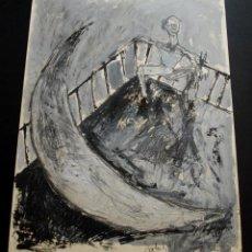 Arte: HORACIO SAPERE.- HOMBRE SENTADO EN TERRAZA Y LUNA (ÓLEO Y TÉCNICA MIXTA) (VER FOTOS ADICIONALES). Lote 55336622