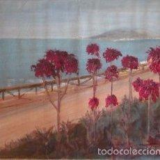 Arte: PASEO DE LOS CANADIENSES. MALAGA. ACRILICO SOBRE LIENZO. DIMENSIONES: 57 CM X 38 CM. Lote 55361360