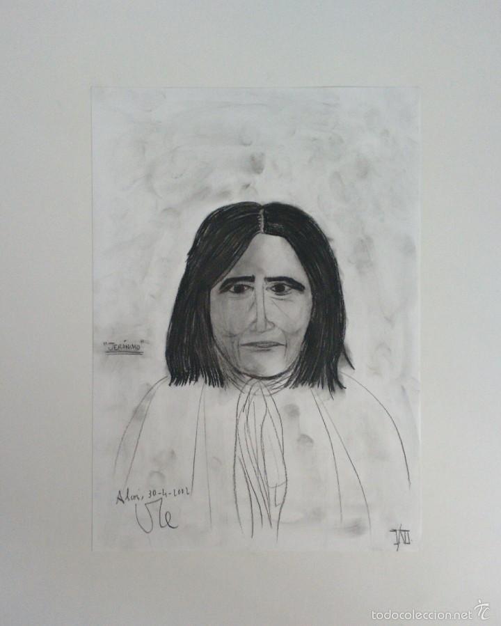 INDIO JERÓNIMO. APACHE. DIBUJO AL CARBONCILLO. ORIGINAL. BARATO COLECCIONISMO INTERESANTE (Arte - Pintura Directa del Autor)