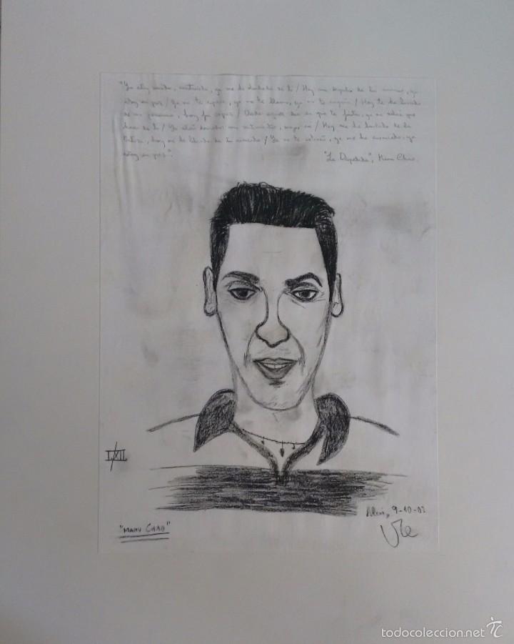 MANU CHAO. DIBUJO AL CARBONCILLO. ORIGINAL. COLECCIONISMO (Arte - Pintura Directa del Autor)