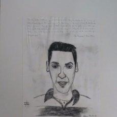 Arte: MANU CHAO. DIBUJO AL CARBONCILLO. ORIGINAL. COLECCIONISMO. Lote 55423259