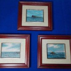 Arte: INTERESANTE LOTE DE 3 OLEOS SOBRE TABLEX - PAISAJE MARINO - AÑOS 50 - 15 X 17 CM - 1 FIRMADO -. Lote 55568387