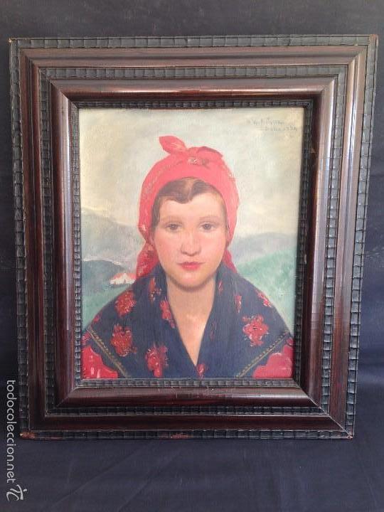 OLEO ANTIGUO EN TABLEX DE JOVEN CON PAÑUELO ROJO EN CABEZA, FIRMADO ILEGIBLE AÑO 1934 (Arte - Pintura - Pintura al Óleo Contemporánea )