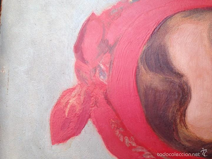 Arte: OLEO ANTIGUO EN TABLEX DE JOVEN CON PAÑUELO ROJO EN CABEZA, FIRMADO ILEGIBLE año 1934 - Foto 6 - 55623406