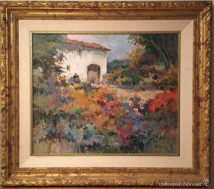 BONITO OLEO SOBRE LIENZO ENMARCADO FIRMADO ILEGIBLE (Arte - Pintura - Pintura al Óleo Contemporánea )