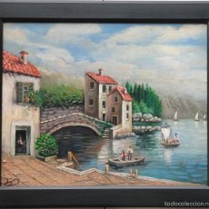 Arte: MARINA CON ALDEA-TORRES. Lote 55818177