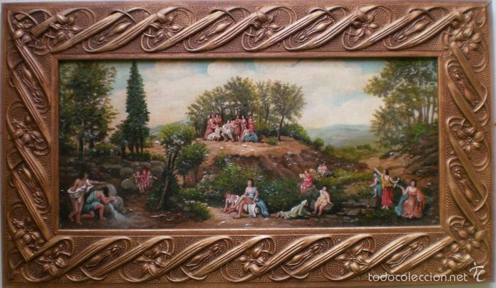 PAISAJE CON FIGURAS-M DOMINGEZ (Arte - Pintura - Pintura al Óleo Antigua sin fecha definida)