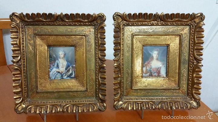 PAREJA DE MINIATURAS PINTADAS AL OLEO SOBRE PLACAS DE MARFIL (Arte - Pintura - Pintura al Óleo Moderna siglo XIX)