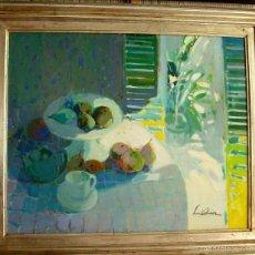 Arte: LUIS AMER NACE EN BARCELONA EN 1943.- OLEO/LIENZO BODEGON CON PERAS Y MAZANAS MEDIDAS 90 X 78 CM. Lote 55878402