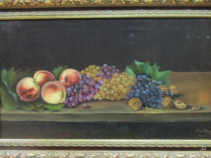 Arte: Antiguo óleo sobre tela - Bodegón - firmado J. de Sitjar - enmarcado - finales S. XIX - Foto 2 - 55899460