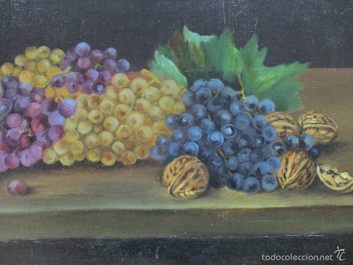 Arte: Antiguo óleo sobre tela - Bodegón - firmado J. de Sitjar - enmarcado - finales S. XIX - Foto 4 - 55899460