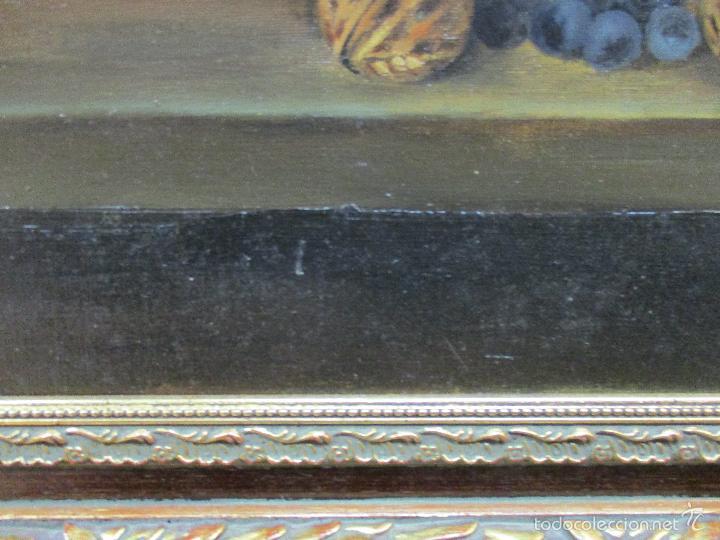Arte: Antiguo óleo sobre tela - Bodegón - firmado J. de Sitjar - enmarcado - finales S. XIX - Foto 5 - 55899460