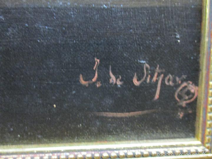 Arte: Antiguo óleo sobre tela - Bodegón - firmado J. de Sitjar - enmarcado - finales S. XIX - Foto 6 - 55899460